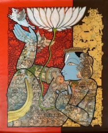 Religious Acrylic Art Painting title Vishnu 7 by artist Ramesh Gorjala