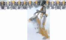 Figurative Acrylic Art Painting title Chenda by artist Pankaj Bawdekar