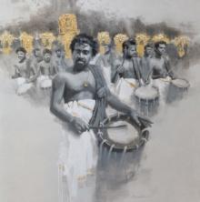 Figurative Acrylic Art Painting title Chenda Melam 1 by artist Pankaj Bawdekar
