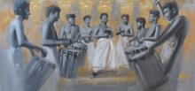 Figurative Acrylic Art Painting title 'Chenda Melam 2' by artist Pankaj Bawdekar