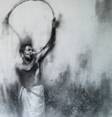 Charcoal Paintings | Drawing title Kombu 2 on Paper | Artist Pankaj Bawdekar