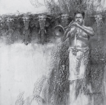 Charcoal Paintings | Drawing title Nagaswaram on Paper | Artist Pankaj Bawdekar