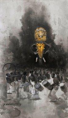 Animals Acrylic Art Painting title 'Untitled 2' by artist Pankaj Bawdekar