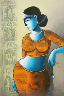 Pratiksha Bothe | Acrylic Painting title Celestial Beauty in Memory Of Harappa 1 on Canvas | Artist Pratiksha Bothe Gallery | ArtZolo.com