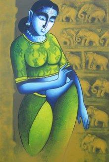 Pratiksha Bothe | Acrylic Painting title Celestial Beauty sursundari 1 on Canvas | Artist Pratiksha Bothe Gallery | ArtZolo.com
