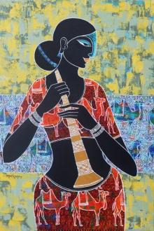 Figurative Acrylic Art Painting title 'Celestial Beauty With Royal Camel' by artist Pratiksha Channekar