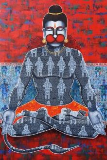 Religious Acrylic Art Painting title 'Kapeeshwar Lord Of The Monkeys' by artist Pratiksha Channekar