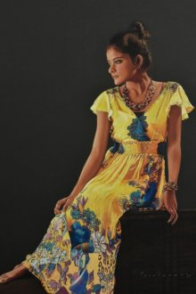 Pencil Paintings | Drawing title Girl with Yellow Frock on Paper | Artist Parshuram Patil
