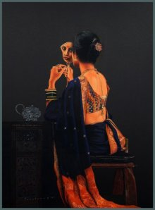 Pencil Paintings | Drawing title Lady Sitting with Mirror on Paper | Artist Parshuram Patil