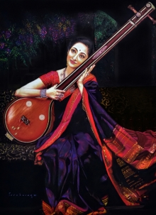 Realistic Color-pencil Art Drawing title Veena by artist Parshuram Patil