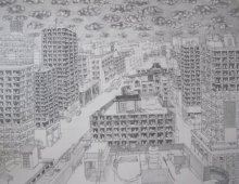 Cityscape Pen-ink Art Drawing title 'Pigeoned home II' by artist Mangesh Kapse