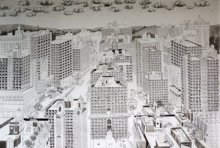 Cityscape Pen-ink Art Drawing title Pigeoned home III by artist Mangesh Kapse