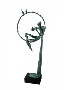 Flute Player | Sculpture by artist Rohan  Pawar | Brass