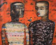 Figurative Acrylic Art Painting title 'Story Of Khaleel Gibran' by artist Raju Terdals