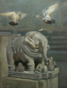 Elephant And Pigeon | Painting by artist Uday Farat | oil | Canvas