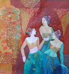 Figurative Acrylic Art Painting title Gassiping III by artist Apurba Karati