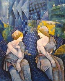 Gassiping 1 | Painting by artist Apurba Karati | acrylic | Canvas