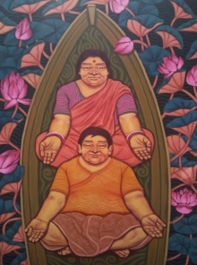 Figurative Acrylic Art Painting title 'Meditation' by artist Apurba Karati