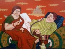 Figurative Acrylic Art Painting title 'The Dream' by artist Apurba Karati
