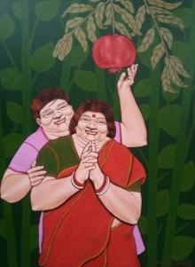 Figurative Acrylic Art Painting title 'The Pomegranate' by artist Apurba Karati