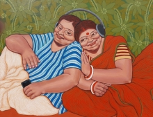 Figurative Acrylic Art Painting title 'The Spare Time' by artist Apurba Karati