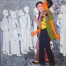 Figurative Acrylic Art Painting title 'Romeo' by artist Rahul Mhetre