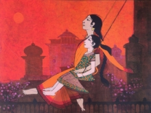 Figurative Acrylic Art Painting title Swing by artist Rahul Mhetre