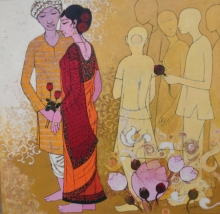 Figurative Acrylic Art Painting title 'Unknown Known' by artist Rahul Mhetre