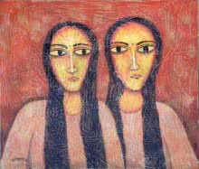 Figurative Tempera Art Painting title Twin by artist Sudip Das