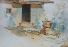 Swapnil Mhapankar Paintings | Watercolor Painting - Tulsi by artist Swapnil Mhapankar | ArtZolo.com