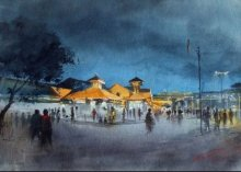 Swapnil Mhapankar Paintings | Watercolor Painting - Bandra Station by artist Swapnil Mhapankar | ArtZolo.com