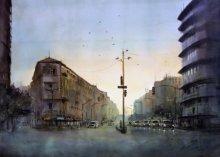 Grantroad-nanachowak | Painting by artist Swapnil Mhapankar | watercolor | Handmade Paper