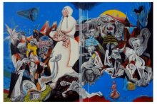 Figurative Acrylic Art Painting title 'Bhopal Gas Tragedy' by artist Mahesh Pal Gobra