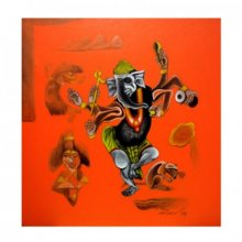Folk Art Acrylic Art Painting title 'Lord Ganesha' by artist Mahesh Pal Gobra