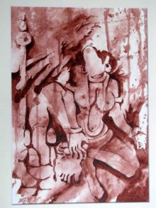 Mahesh Pal Gobra | Acrylic Painting title The Form of Sculpture VI on paper | Artist Mahesh Pal Gobra Gallery | ArtZolo.com