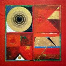Abstract Acrylic Art Painting title 'Meditation 86' by artist Nilesh Nikam
