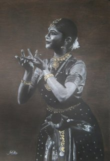 Charcoal Paintings | Drawing title Bharatanatyam X on Paper | Artist Sujith Puthran