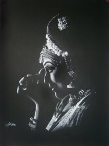 Charcoal Paintings | Drawing title Bharatanatyam VI on Paper | Artist Sujith Puthran