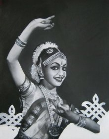 Charcoal Paintings | Drawing title Bharatanatyam III on Paper | Artist Sujith Puthran
