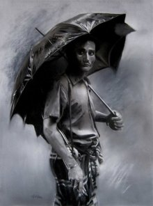 Charcoal Paintings | Drawing title Rainyday on Paper | Artist Sujith Puthran