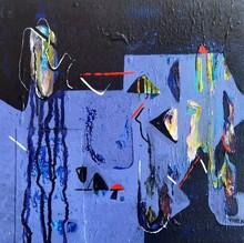 Abstract Acrylic Art Painting title Untitled 17 by artist Vivek Nimbolkar