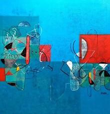 Abstract Acrylic Art Painting title Untitled 33 by artist Vivek Nimbolkar