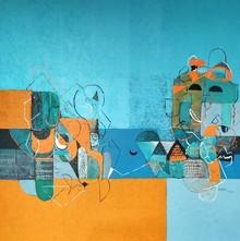Abstract Acrylic Art Painting title Untitled 36 by artist Vivek Nimbolkar