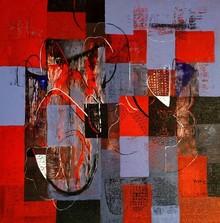 Abstract Acrylic Art Painting title Untitled 38 by artist Vivek Nimbolkar