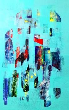 Abstract Acrylic Art Painting title Untitled 45 by artist Vivek Nimbolkar