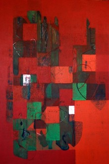 Abstract Acrylic Art Painting title Untitled 46 by artist Vivek Nimbolkar