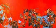 Abstract Acrylic Art Painting title Untitled 53 by artist Vivek Nimbolkar