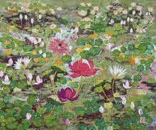Moonlit Pond | Painting by artist Madhu Jain | tempera | handmade paper