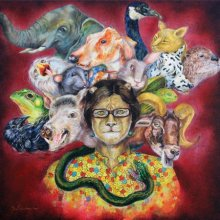 Lifestyle Acrylic Art Painting title 'Split Personality' by artist Minal Rajurkar
