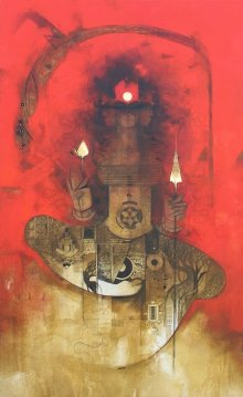 Amol Pawar Paintings | Oil Painting - Devi II by artist Amol Pawar | ArtZolo.com